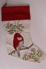 New Pottery Barn Christmas stocking, crewel, chubby red bird