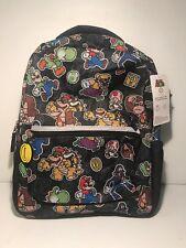"BRAND NEW! Super Mario Black 16"" Backpack w/ Mario, Yoshi, Luigi and Donkey Kong"