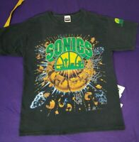 Vintage 90s Seattle Supersonics Faded Black NBA Changes Tshirt XL Single Stitch
