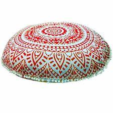 "32"" Orange Mandala Large Floor Pillow Cover Cushion Meditation Ottoman Poufs"