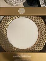 CIROA LUXE METALLIC GOLD LATTICE DINNER PLATES SET OF 4 new NIB