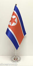 North Korea Satin Flag with Chrome Base Table Desk Flag Set