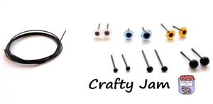 Natural 3D Animal Needle Felting Eyes & Whiskers, Glass Eyes + Craft Wire
