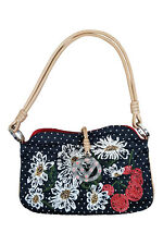 *VALENTINO* BLACK SILK FLORAL EMBROIDERED HANDBAG AS SEEN ON BEYONCE (S)