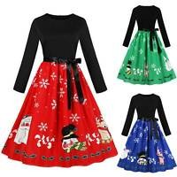 Women Long Sleeve Patchwork Bowknot Swing Comfy Casual Halloween Party Dress AU