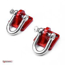 2 x Universal Off Road 4x4 Winch Bow D Shackle Mounting Plate with Shackle - Red