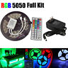 Non Waterproof LED Strip Light 5M RGB 5050 SMD 44 Key Remote 12V Power Full Kit