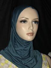 New Dark Teal Blue lycra hijab 1 piece abaya Islam scarf chemo head cover scarf