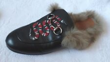 AUTHENTIC WOMANS GUCCI SNAKE LEATHER FUR MULES SLIPPER, SZ 39  $1,100