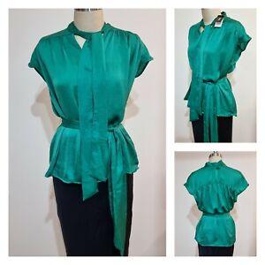 BNWT OXFORD SATIN BLOUSE [8 10 12 XS S M ] Women's Green tie wrap Top | RRP$169