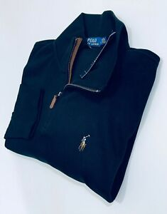 Ralph Lauren Men's Estate-Rib Quarter-Zip Pullover (Black)  RRP £125