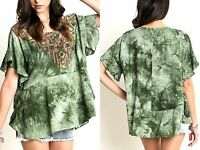 Umgee Top Size XL S M L Olive Embroidered Tunic Free Boho People Women Shirt New