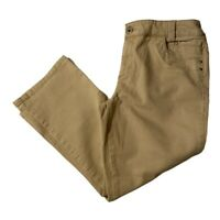 Chicos Platinum Womens Chino Pants Beige Stretch Flat Front Pockets Size 8