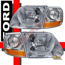 97-03 Ford F-150 F150 SVT Harley Davidson Headlights & Corner Lights Set Chrome