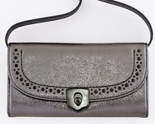NWT COLE HAAN MARLI RFID BLOCKING CLUTCH WALLET W OPTIONAL STRAP ANTHRACITE $220