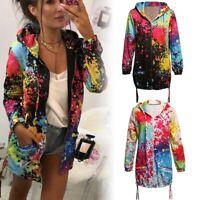 Rainbow Graffiti Style Jacket Coat Printing Women Long Sleeve Breathable Coat