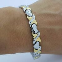 LADIE'S STAINLESS STEEL  BIO MAGNETIC BRACELET 5in1 SILVER/GOLD HEARTS DESIGN 01