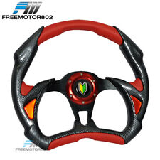 Steering Wheel Battle Type 320mm Carbon Fiber Red With Horn PVC Leather