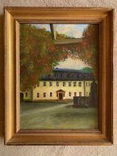 Antik Gemälde dekoratives  Ölgemälde Landschaft Bild ,Villa Haus