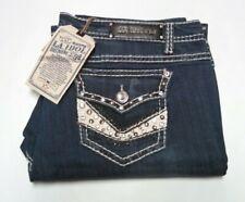 Womens LA Idol Jeans Plus Size 21 Flap Pockets Distress 43x34 Stretch Blue