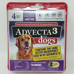 ADVECTA 3 FOR LARGE DOG 21- 55lbs FLEA & TICK TOPICAL TREATMENT 4 MONTHS #6837