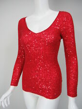 DONNA KARAN COLLECTION Red Cashmere Silk Sequin Covered V-Neck Sweater sz S