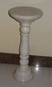 """28"""" White Marble Top Coffee Table Tall Solid Telephone Stand Rare Home Decor Art"""