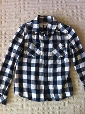 TNA Aritzia Boyfriend Shirt Plaid White Black Large Juniors Long Sleeve
