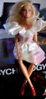 Barbie doll bending limbs & hands blonde curly hair white frock & red high heels