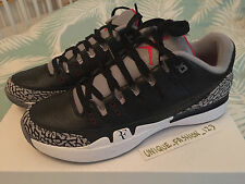 Nike Zoom vapeur AJ3 Air Jordan 3 Federer Noir Ciment us 7.5 uk 6.5 40.5 Blanc