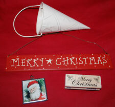 Holiday LOT Goodies MERRY CHRISTMAS Wood Sign Stamper Santa Ornament Star Tin