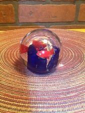 Vintage Art Glass Paperweight - Small Red Fish Blue Coral