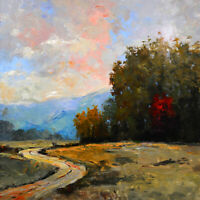 Large Original Acrylic on Canvas Landscape Art. 36in x 36in by Hunoz
