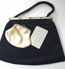 L & M Bags by Edwards Black Satin Handbag Mother of Pearl Coin Purse Mirror Set