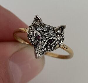 15ct Gold & Silver Ruby Eyed, Rose Cut Diamond Fox Head Ring, 15k