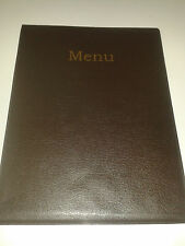 A4 MENU COVER/FOLDER IN HEAVY GRAINED BROWN LEATHER LOOK PVC-with poc page 2 + 3