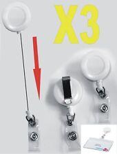 Lot de 3 PORTE BADGE rétractable ENROULEUR roller clip 65 CM *neuf*