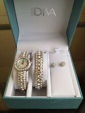 NIB LADY DIVA Crystal Accented Cuff Watch w/ Bangle Bracelet & Stud Earrings Set