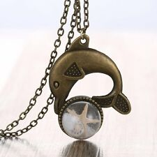 Glass Sand Starfish Pendant Necklace Retro Unisex Bronze Tone Dolphin