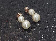 18K Rose Gold Filled Petite Italian Pearl 18ct GF Stud Earrings 15mm