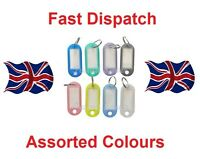 50 x KEY ID TAGS ASSORTED COLOURED FOB RING IDENTIFIERS + NAME CARD