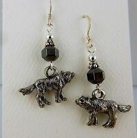 Pewter Wolf Earrings with Hematite gemstones