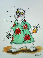 H.Schmidt Eisbär*Endlich Urlaub!*polar bear tv sonnenbrille safari hemd Aquarell