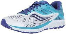Saucony Women's Ride 10 Running Shoe, White Blue, 8 Wide US