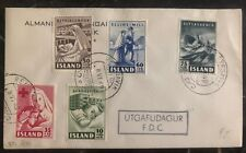 1949 Reikiavik Iceland First Day Cover FDC Complete Stamp Set