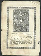 Grabado antiguo Cristo de Balaguer andachtsbild santino holy card santini