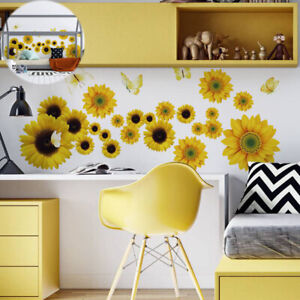 Sunflowers Stickers Yellow Colour Wall Self Adhesive Vinyl 50*70 cm Decals
