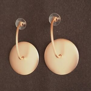 Lagenlook Rose Gold Metal Curvature Disc Earrings from Timeless Season