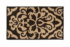 "Soft and Durable Microfiber Bathroom Shower Accent Rug, 30"" x 18"" Floral Brown"
