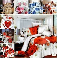 4 Piece Bedding Set Quilt Cover Bed Set 3D Duvet Cover Fitted Sheet Pillow Cover